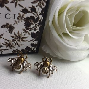 Authentic Crystal Gold Gucci Bee Earrings